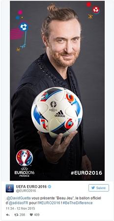 ballon officiel de l'Euro 2016 par David Guetta