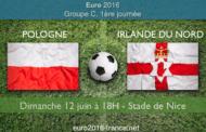 Pronostic du match Pologne-Irlande du Nord : 1ère journée du Groupe C de l'Euro 2016 Dimanche 12 juin 18h00