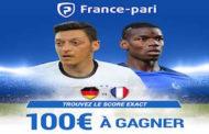 100€ à gagner en participant à notre concours Facebook gratuit : Quel sera le score exact de France Allemagne?