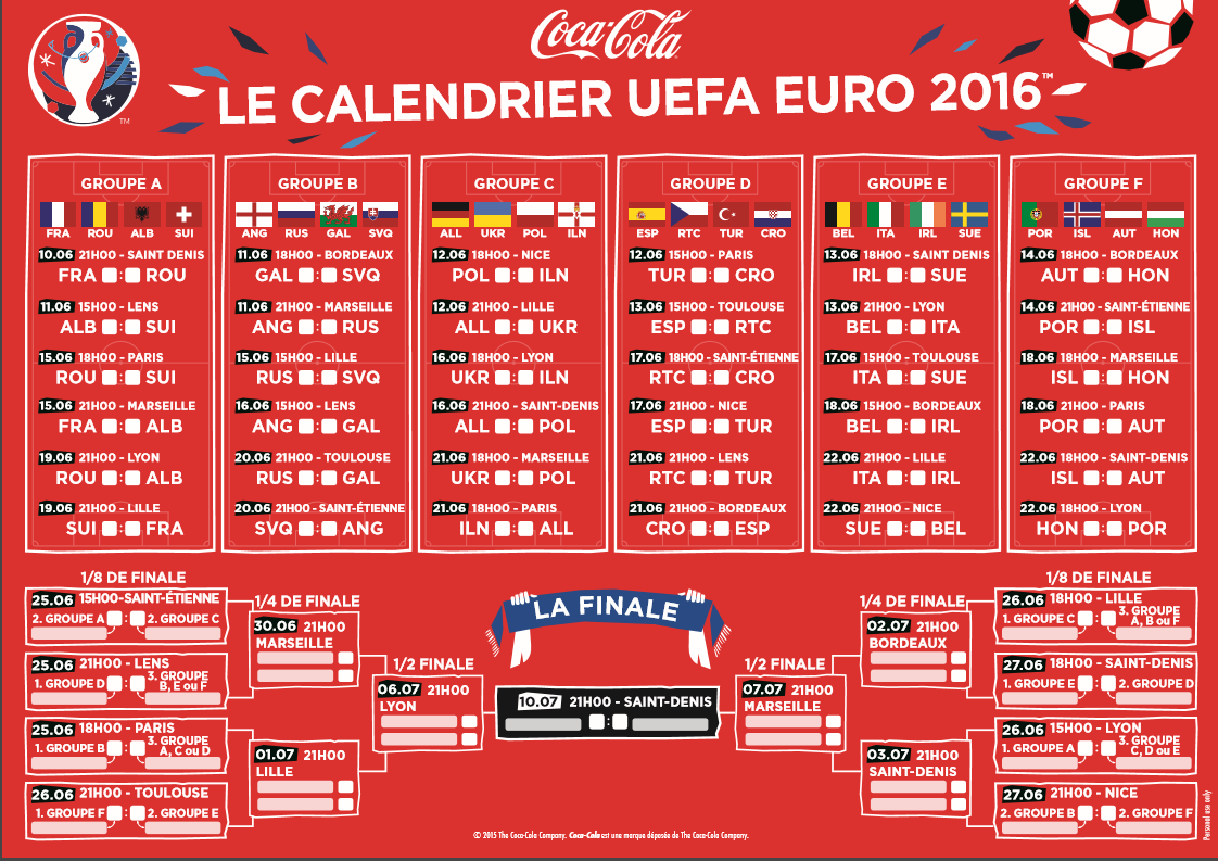 France euro 2016 nations et joueurs - Calendrier coupe d europe 2016 ...