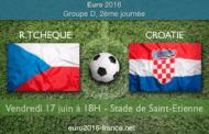 Meilleures cotes et pronostic du match République Tchèque-Croatie, comptant pour le Groupe D de l'Euro 2016