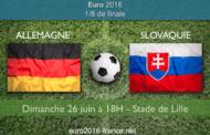 Meilleures cotes et pronostic du match Allemagne-Slovaquie, 1/8 de finale de l'Euro 2016, le 26 juin 18h à Lille