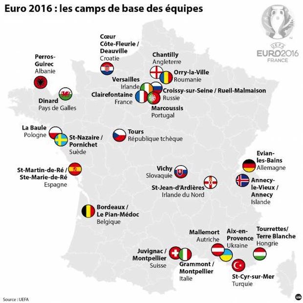 Euro 2016 : lieu de résidence des équipes