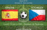 Pronostic et meilleures cotes pour le match Espagne - République Tchèque, comptant pour la 1ère journée du Groupe B de l'Euro 2016