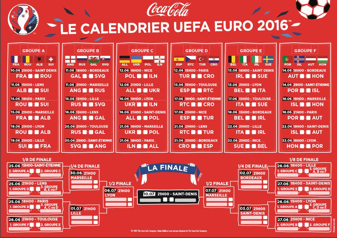 Calendrier Euro 2016 Match