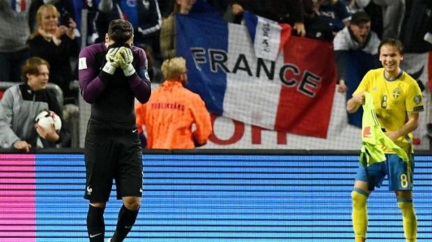 Lloris a commis une grosse erreur lors du match entre la France et la Suède