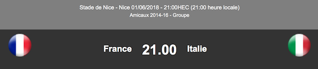 Match amical France/Italie le 1er juin 2018